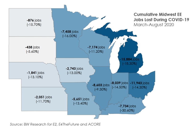 Midwest COVID-19 job loss map