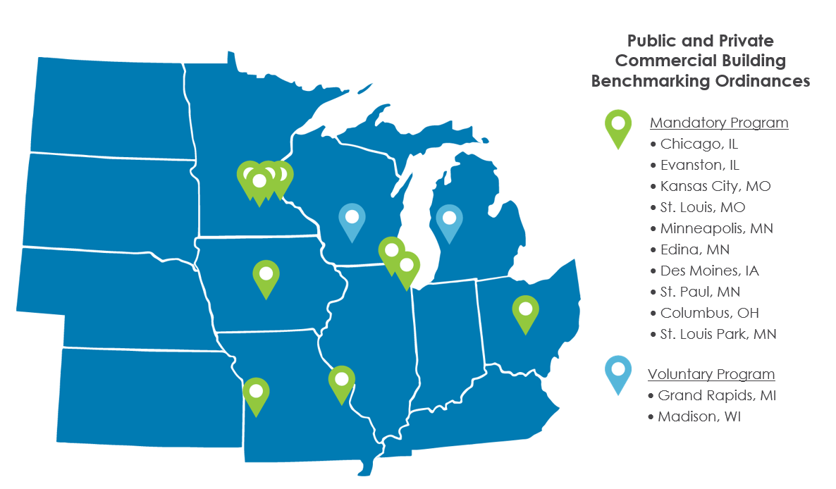 map denoting public and private commercial building benchmarking ordinances