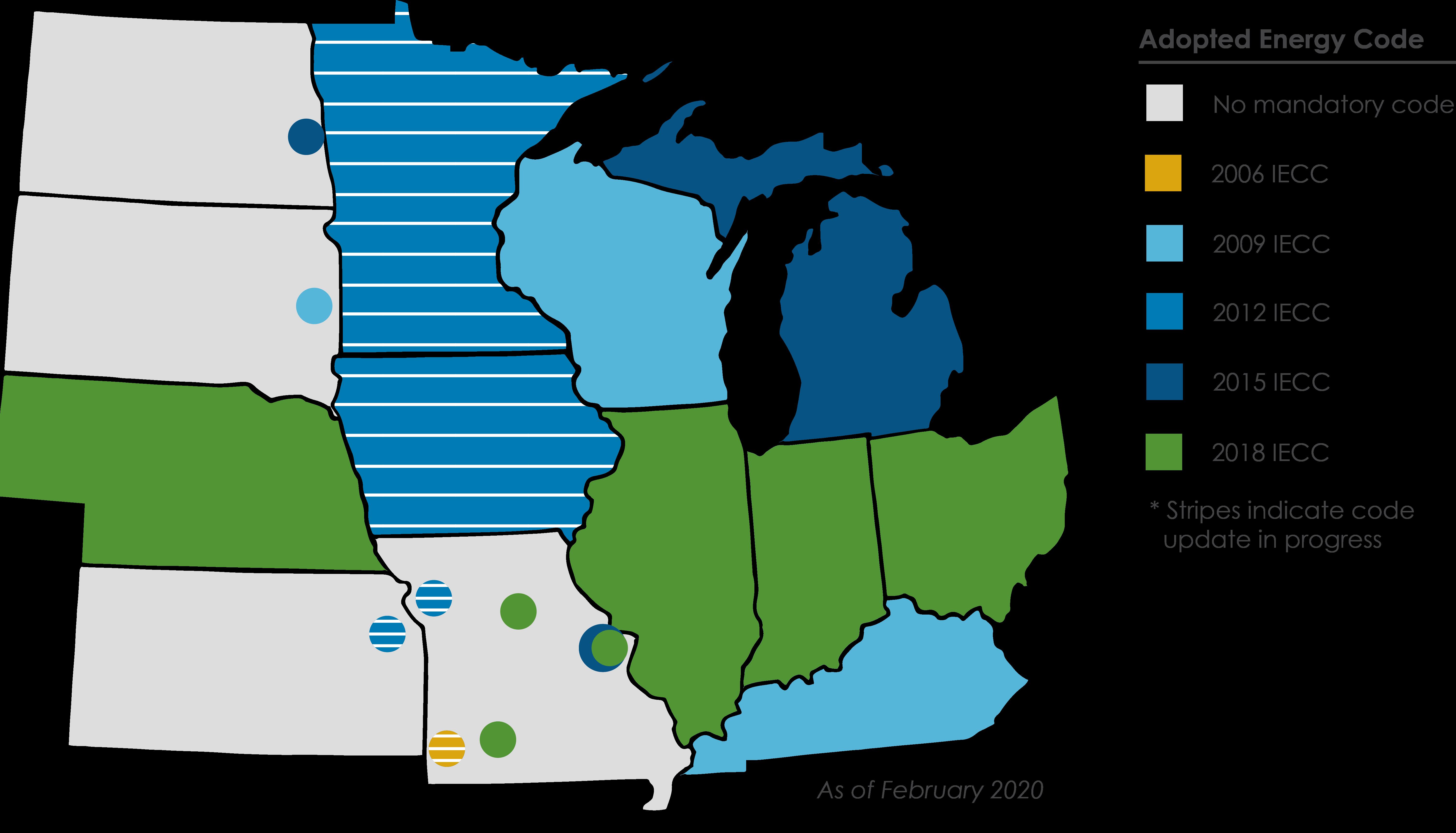 map denoting residential building energy code adoption