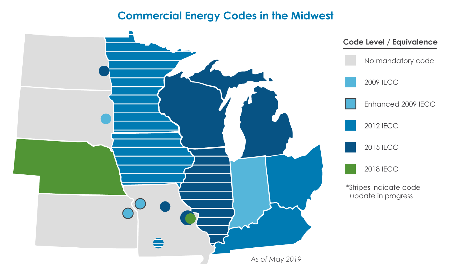 map of commercial energy code levels in the midwest