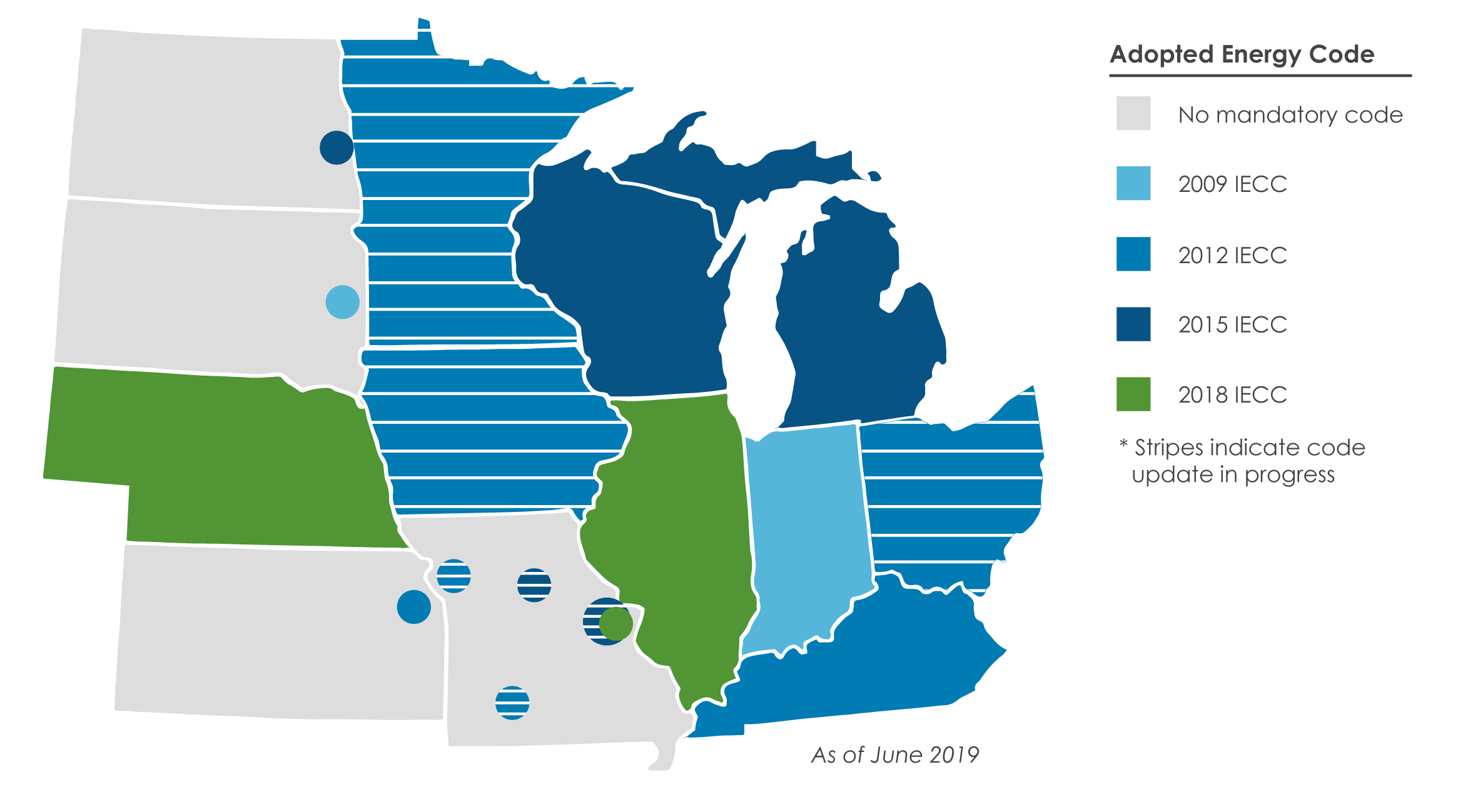 map of Midwest commercial energy code level as of 6.24.19