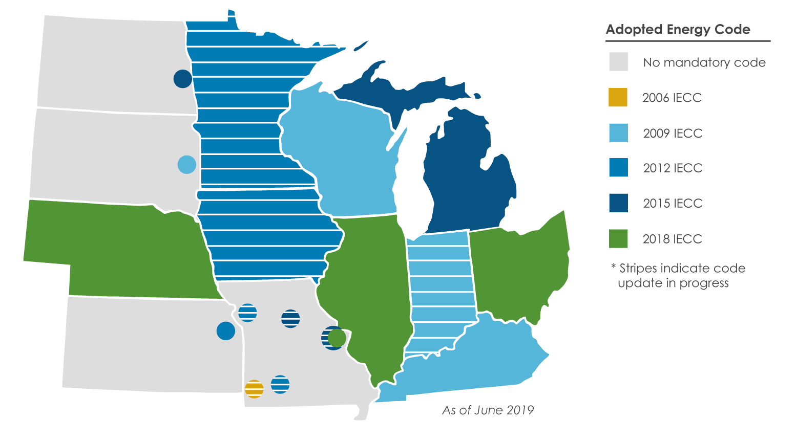 map of Midwest residential energy code level as of 6.24.19