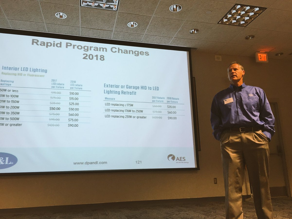 Mark Dancer from Dayton Power & Light presents slides to industrial customers