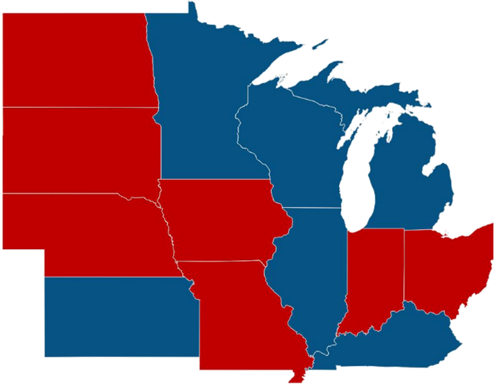 map of partisan control of governorship in Midwest states