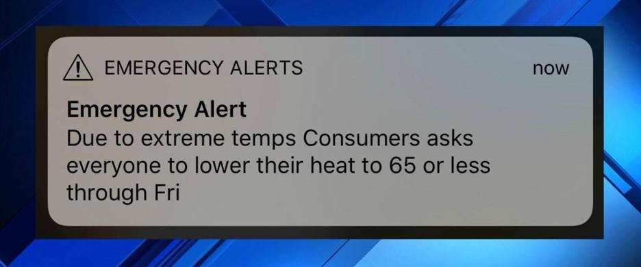 Emergency alert asking customers to lower their heat