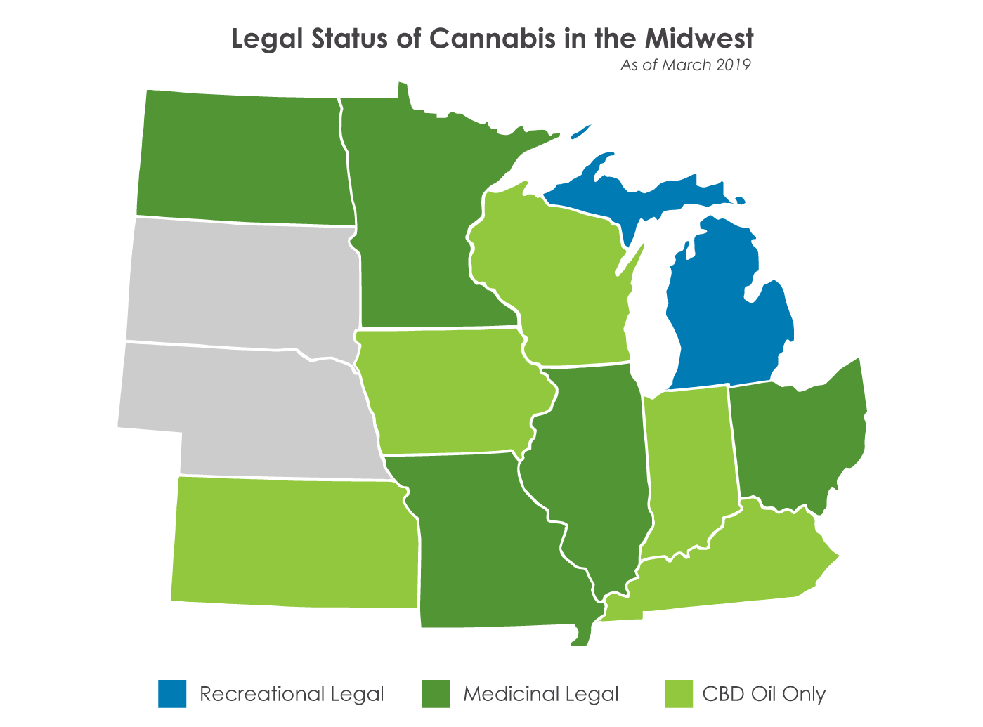 map of midwest states with color coding for legal status: recreational legal, medicinal legal or CBD oil only
