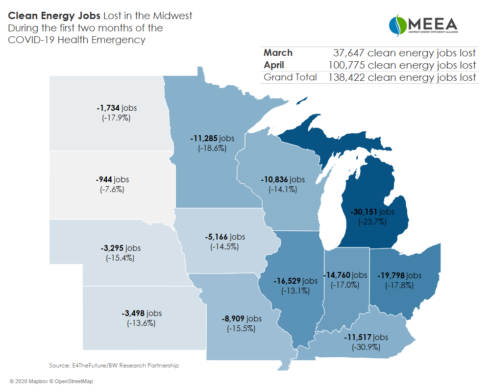 Map of Midwest clean energy job loss since the start of COVID-19 by state