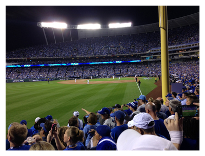 fans watching a baseball game at Kansas City's Kauffman Stadium