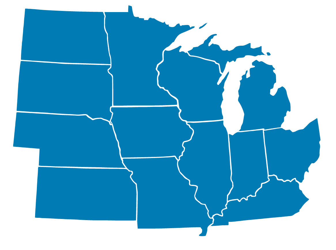 map of MEEA's 13 state footprint