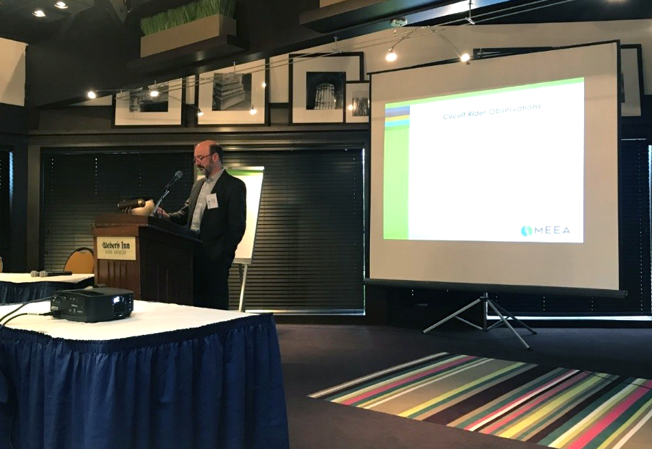Chris Burgess, MEEA's Technical Manager for Code Compliance, kicks off day two with an update on the DOE Residential Field Study in Kentucky. According to a preliminary MEEA analysis, the project reduced energy use in single-family homes by over 18% as a result of improved energy code compliance!