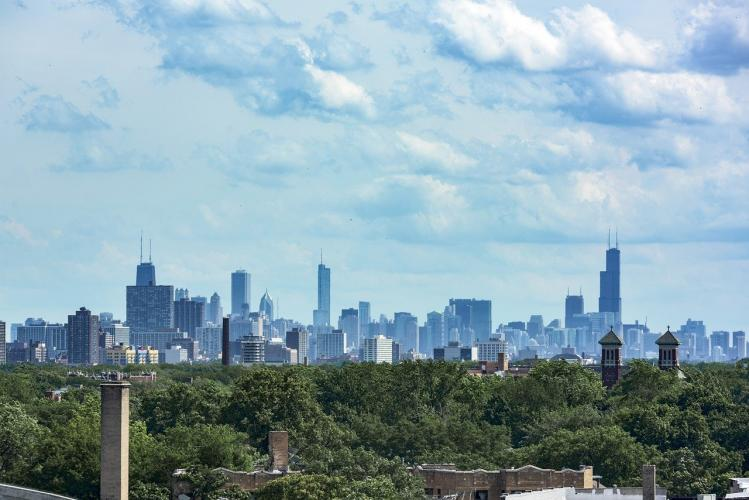 View of Chicago skyline from Evanston, IL
