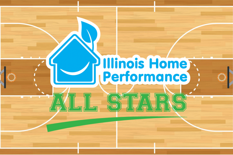 "Basketball court background with ""IHP all stars"" written at center court"
