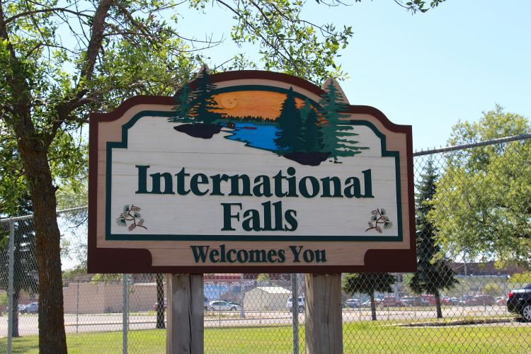International Falls Welcome Sign