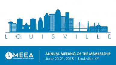 Louisville's skyline illustrated in blue with meea's logo and event information below