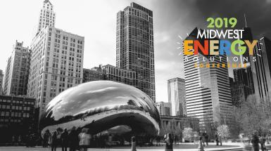 black and white chicago bean with MES 2019 logo