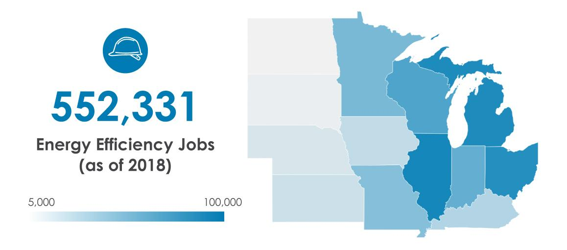 heat map depicting number of EE jobs across Midwest
